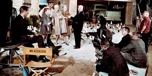 On the set of 'The Birds'