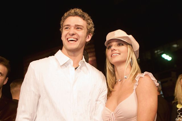 britney spears and boyfriend justin timberlake arrive at the premiere of her movie crossroads at the mann chinese theatre in hollywood, ca, feb 11, 2002  photo by kevin wintergetty images