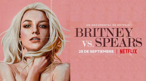 cartel promocional del documental de netflix britney vs spears con un dibujo realista de britney
