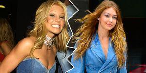 Britney Spears versus Gigi Hadid canadian tuxedo, biker shorts