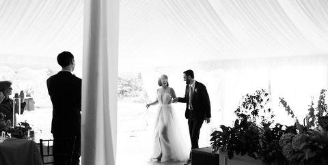 Photograph, Ceremony, Wedding, Bride, Black-and-white, Standing, Event, Dress, Monochrome photography, Wedding dress,