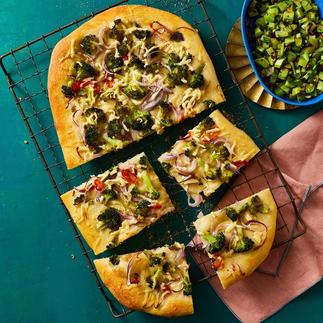 broccoli red onion flatbread recipe