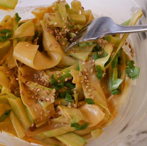 spicy broccoli stem peanut noodles  delishcom