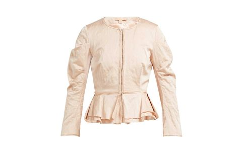 Clothing, Jacket, Outerwear, Leather, Beige, Leather jacket, Sleeve, Collar, Blazer, Top,