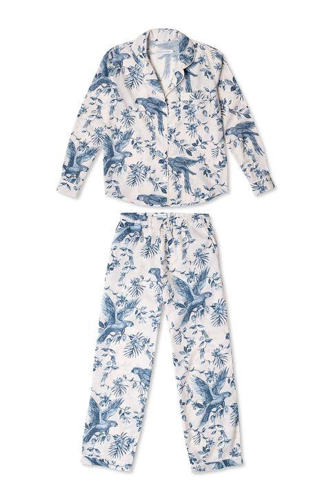 desmond  dempsey parrot blue and white printed pyjama set sleepwear