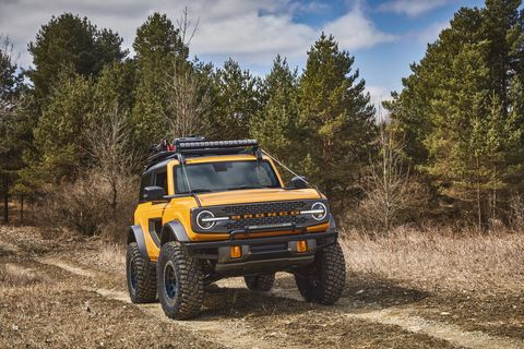 with more than 200 factory backed accessories available at launch, this 2021 bronco two door prototype shows how owners can personalize their suv to get more out of their outdoor experiences aftermarket accessories shown not available for sale prototype not representative of production vehicle