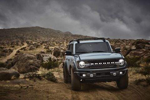 pre production 2021 bronco four door badlands series with available sasquatch™ off road package in cactus gray in johnson valley, california