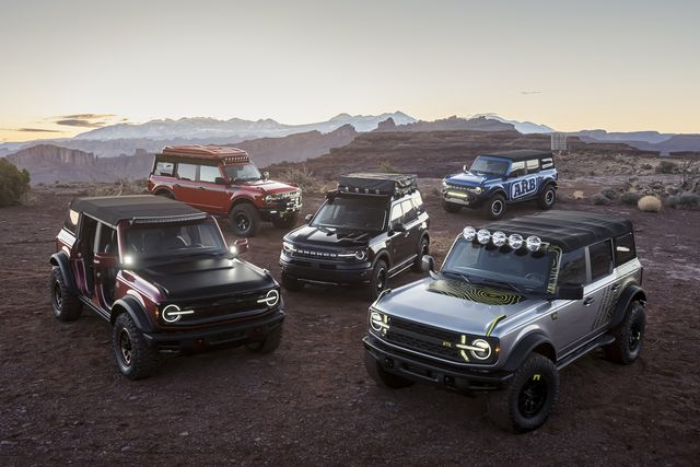 at the easter safari event in moab, utah, off road enthusiasts can drive various trails and see the all new 2021 bronco and bronco sport rugged suvs in person, along with the unveiling of several new custom builds by ford and aftermarket suppliers