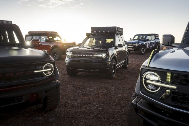 a group of customized 2021 ford broncos