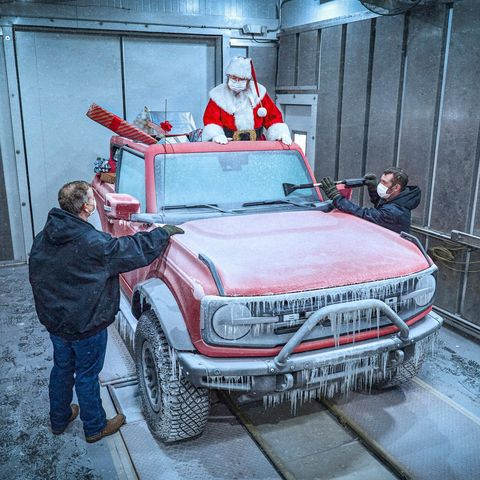 frozen ford bronco with santa