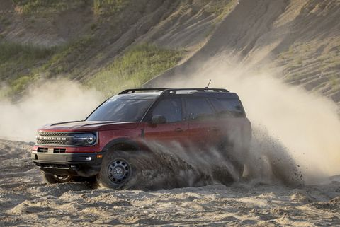 the all new bronco sport enables exciting, high speed off road driving thanks to an available 20 liter ecoboost® engine with segment best horsepower and torque pre production model pictured