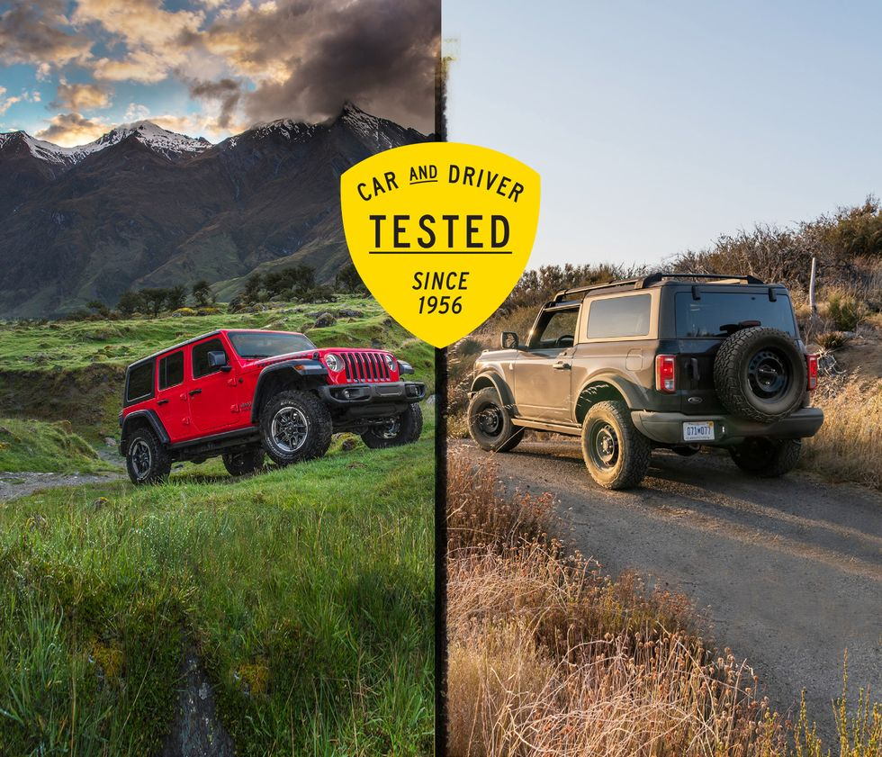2021 Ford Bronco V-6 Is Quicker Than Jeep Wrangler, Four-Cylinder Matchup Goes the Other Way