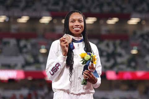 allyson felix winning an olympic medal at the 2020 tokyo olympics for track and field
