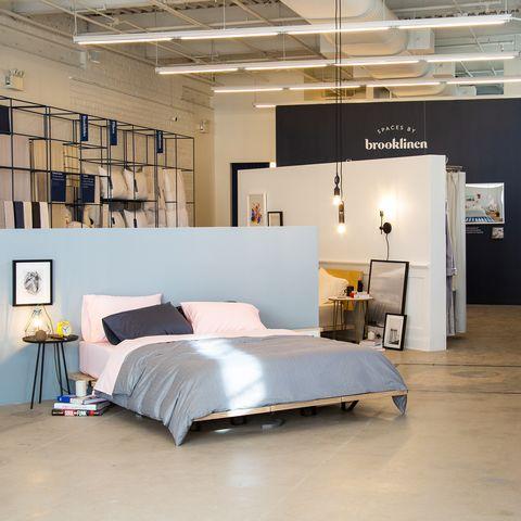 Bed, Furniture, Room, Interior design, Building, Bed sheet, Mattress, Design, Loft, Textile,