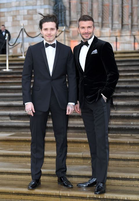 David y Brookyn Beckham esmoquin