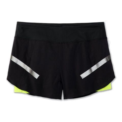 brooks carbonite 4 inch 2in1 short hardloopshorts shorts korte broek zwart