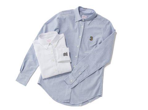 ブルーと白のシャツ物撮り