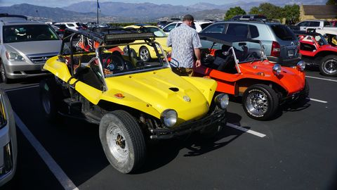 original meyers manxes parked at bruce meyers' 90th birthday bash