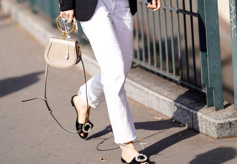 White, Clothing, Street fashion, Jeans, Waist, Fashion, Ankle, Shoe, Leg, Footwear,