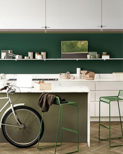 Cocina pintada en color verde de Bruguer