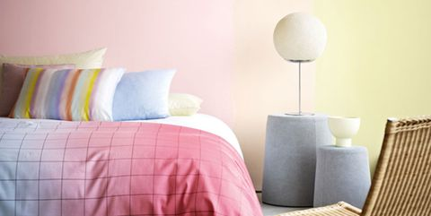 Furniture, Room, Pink, Pillow, Cushion, Bedroom, Bed sheet, Bedding, Interior design, Wall,