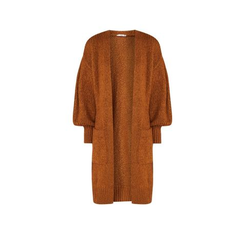 Clothing, Outerwear, Orange, Brown, Cardigan, Sleeve, Sweater, Tan, Costume, Beige,