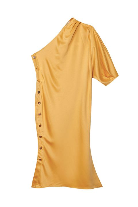 Clothing, Yellow, Shoulder, T-shirt, Sleeve, Neck, Orange, Blouse, Joint, Top,