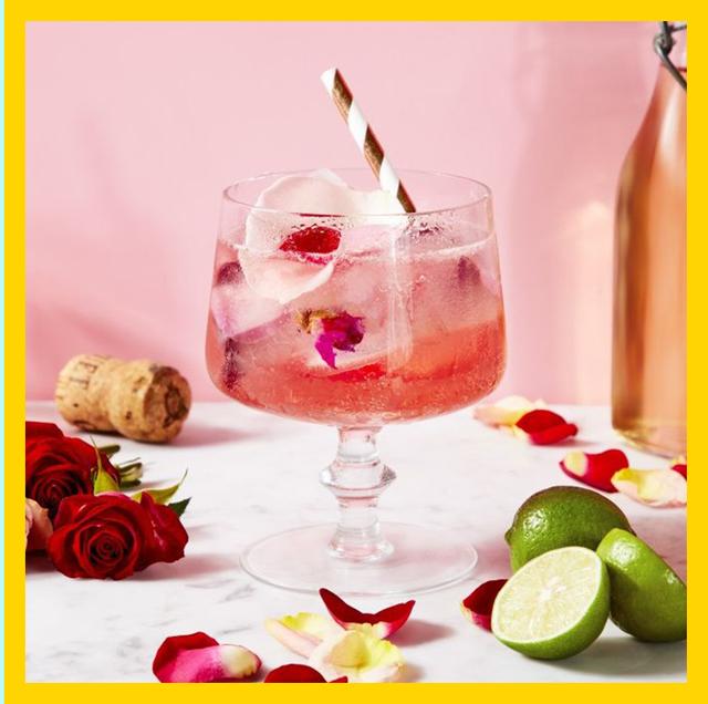 Pink, Drink, Pink lady, Rose, Food, Wine cocktail, Petal, Rose, Garden roses, Champagne stemware,