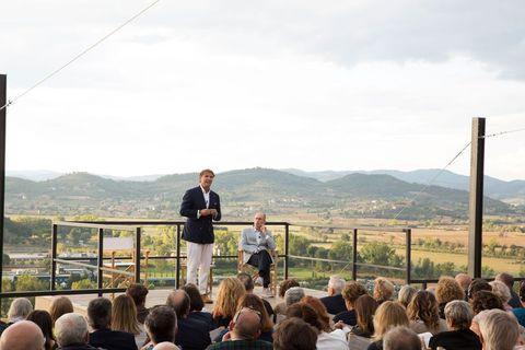 brunello cucinelli speaking at salomeo, his campus in umbria