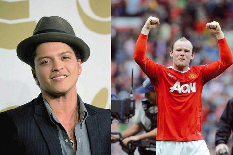 Bruno Mars y Wayne Rooney