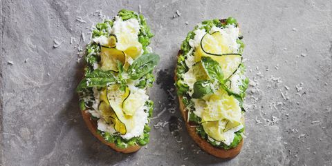 bruschetta with grilled zucchini, snow peas and mint, mozzarella and ricotta cheese