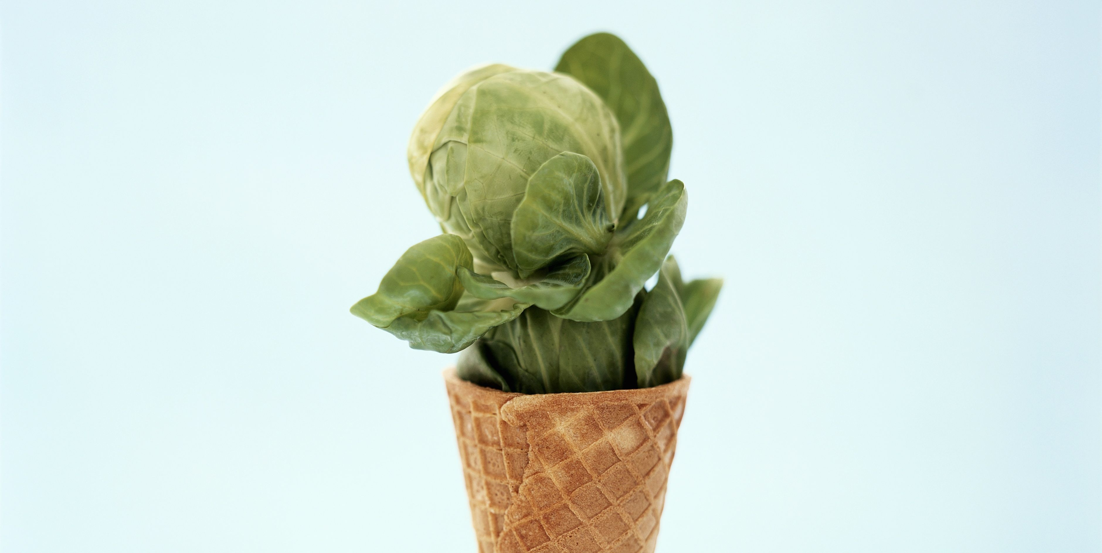 A Brussels Sprout with Greens in an Ice Cream Cone