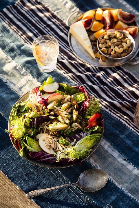crispy brussels sprouts salad with citrus maple vinaigrette