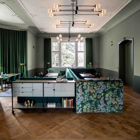 Green, Room, Ceiling, Furniture, Interior design, Floor, Building, Turquoise, Property, Wall,