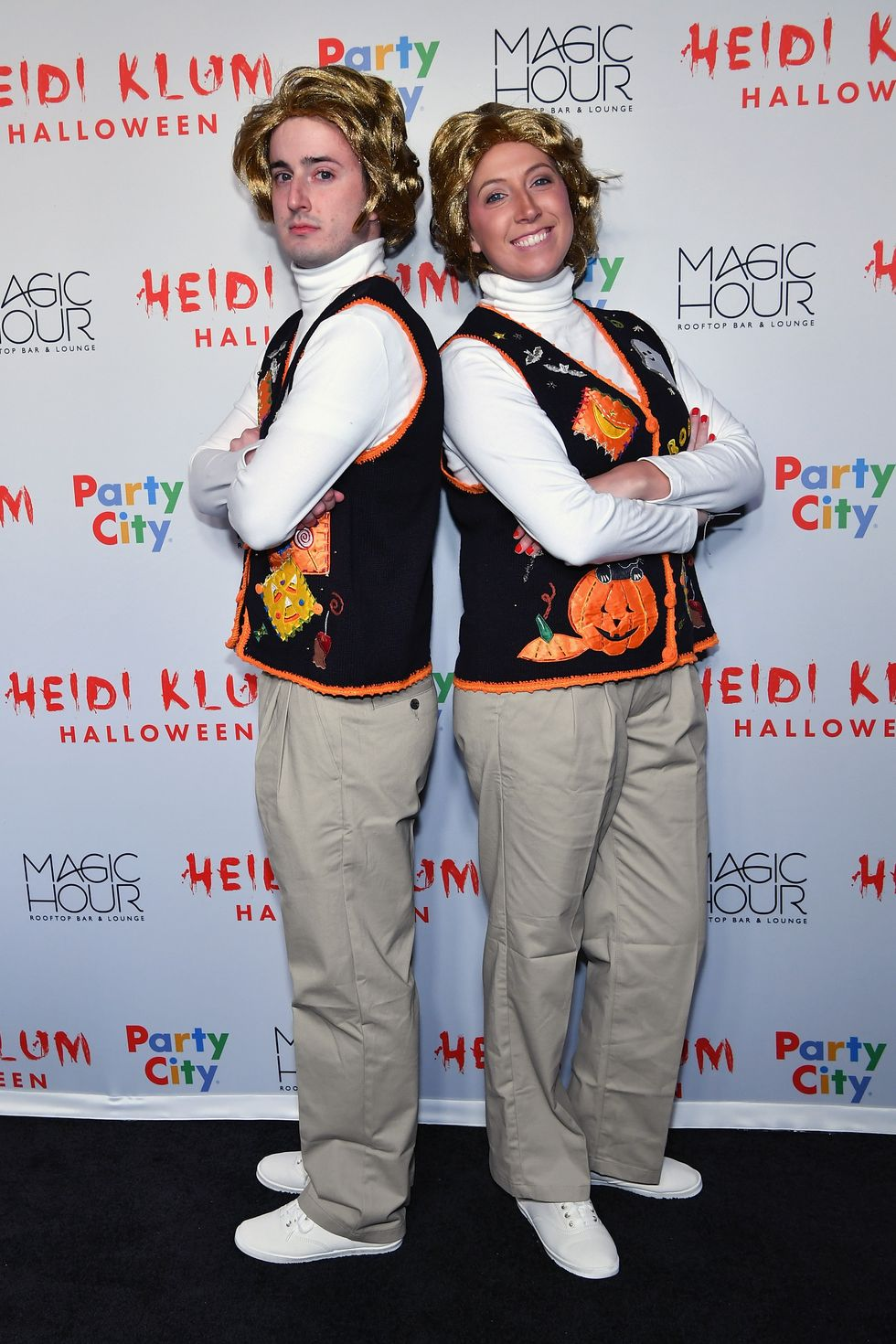 Bryce Dalzin and Erin Riley - 'SNL' Actors Are you and your partner Saturday Night Live fans? If so, steal this creative costume from Bryce Dalzin and Erin Riley, who hit Heidi Klum's Halloween party in 2018 dressed as Garth and Kat from the hysterical show.