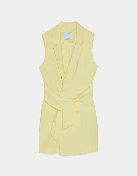 Clothing, Yellow, Outerwear, Beige, Sleeve, Dress, Collar, One-piece garment, Jacket, Button,
