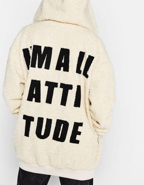 White, Clothing, Outerwear, Hood, Hoodie, Sweatshirt, Sleeve, Font, Beige, Shoulder,