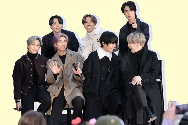 """bts,new york, new york   february 21 l r jimin, jungkook, rm, j hope, v, jin, and suga of the k pop boy band bts visit the """"today"""" show at rockefeller plaza on february 21, 2020 in new york city photo by dia dipasupilgetty images"""
