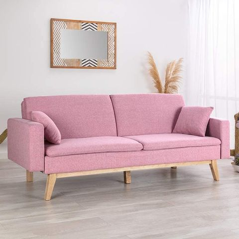 sofá de tres plazas con tapizado en rosa de manomano
