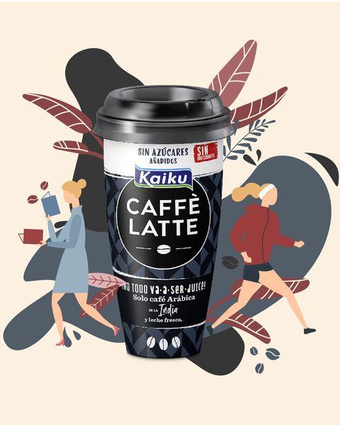 Ilustración con envase deKaiku Caffè Latte sin azúcares añadidos