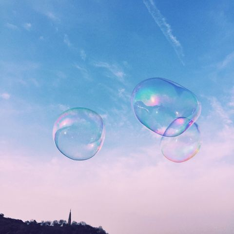 low angle view of bubbles