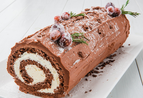 Christmas Yule Log Cake.Buche De Noel Yule Log Cake