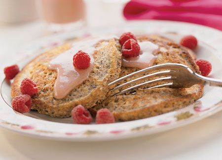 Whole Grain Pancakes With Berry Cream Syrup