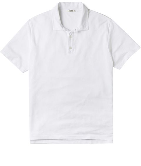 White, Clothing, T-shirt, Collar, Sleeve, Polo shirt, Product, Line, Top, Button,