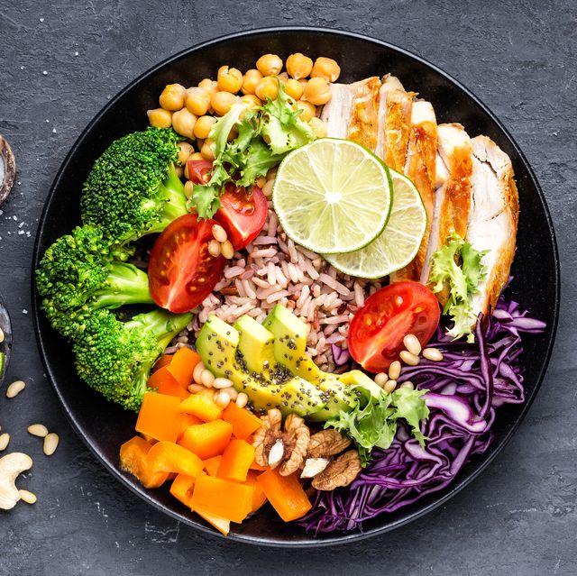 buddha bowl dish with chicken fillet, brown rice, avocado, pepper, tomato, broccoli, red cabbage, chickpea, fresh lettuce salad, pine nuts and walnuts healthy balanced eating top view
