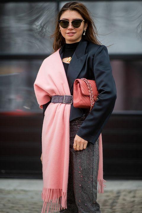 Clothing, Street fashion, Pink, Fashion, Eyewear, Outerwear, Sunglasses, Coat, Dress, Trench coat,