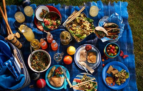 A picnic with an array of food