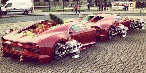 Bugatti Chiron remolque Navidad