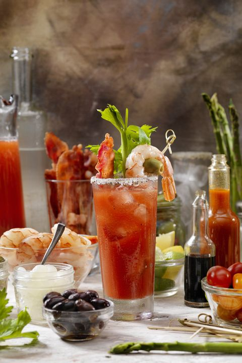 build your own bloody mary bar with, bacon, shrimp,celery, asparagus