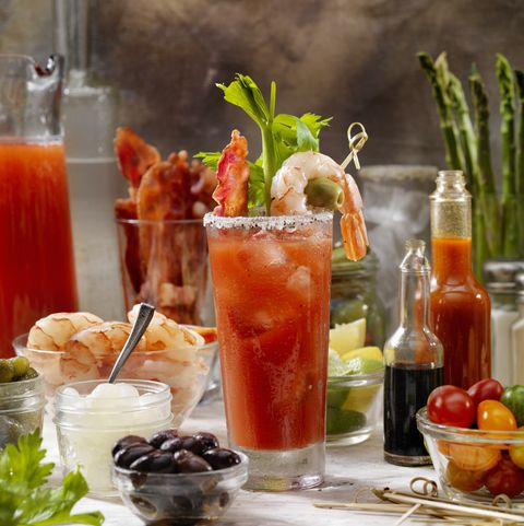 Build Your Own Bloody Mary Bar with, Bacon, Shrimp,Celery, Asparagus.
